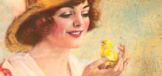 painting of a woman holding a chick